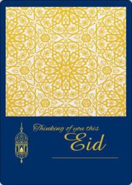 Eid wenskaart royal blue gold (L)