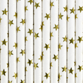 Paper straws golden stars (10pcs)