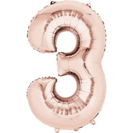 Cijfer ballon XL  rose goud 3