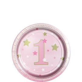 Paper plates twinkle1 pink (8pcs)