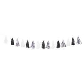 XL Tassel slinger zwart zilver