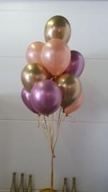 Chrome ballonnen gevuld met helium + gel (pst)