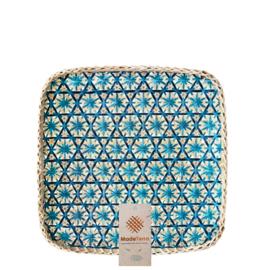 Bamboe mand blauw vierkant