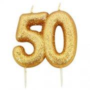 Kaarsjes goud glitter cijfer 50