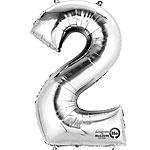 Cijfer ballon 2 zilver (40cm)