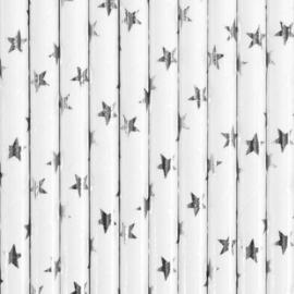 Papieren rietjes zilveren sterren (10st)