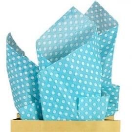 Tissue paper Robins egg blue dots