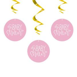 Hanging swirls Hello baby pink