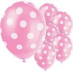 Pink polka balloons (6pcs)