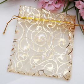 Organza pouch gold swirl (5pcs)