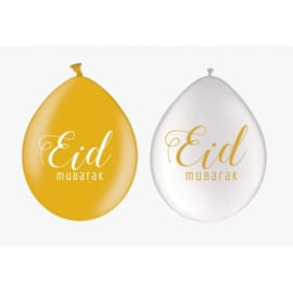 Ballonnen Eid goud/wit parelmoer (10st)