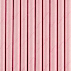 Papieren rietjes baby roze(10st)