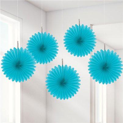 Mini paper fans turqoise (5pcs)