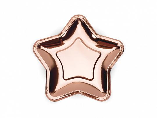 Paper plates rose gold star (6pcs)