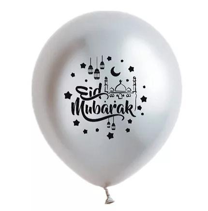 Ballonnen Eid partyzz mix zilver zwart (5st)