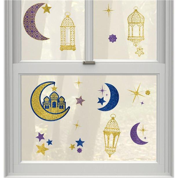 Window sticker set lanterns & moon