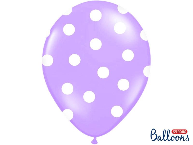 Ballonnen lavender met witte dots (6st)