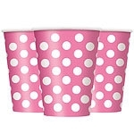 Paper cups pink polka dot