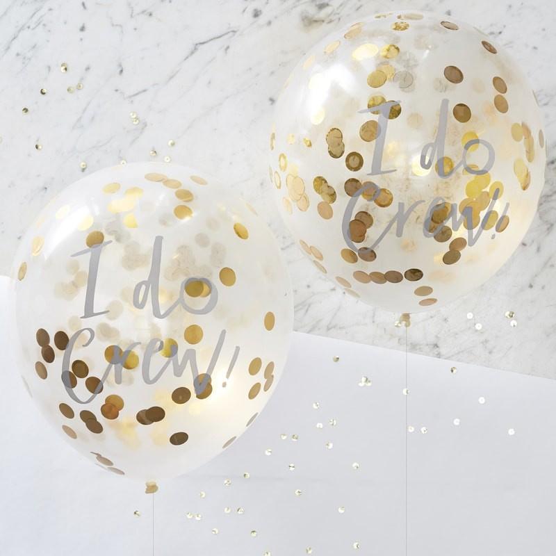 Confetti ballon I do goud (5st)