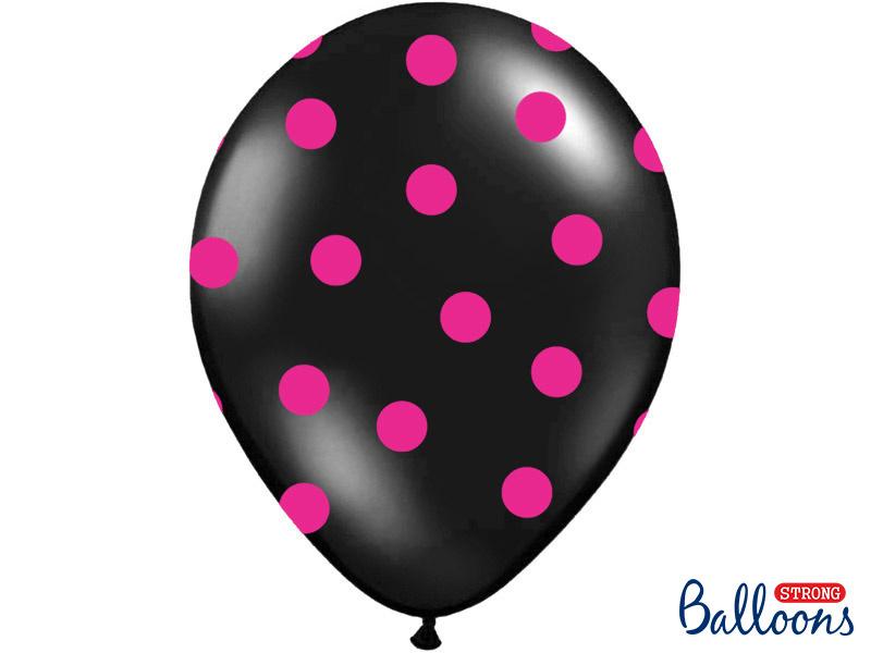 Balloons black w/ hot pink dots (6pcs)