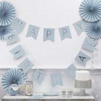 Paper bunting blue Happy Birthday
