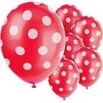 Balloons red polka dot (6pcs)