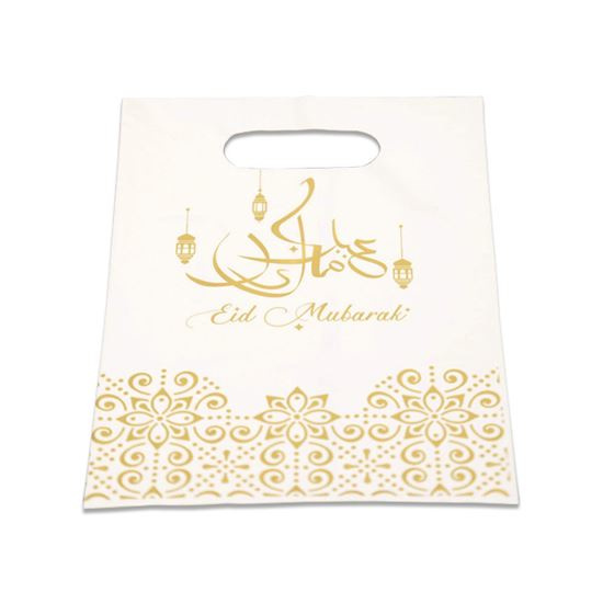 Snoepzakjes Eid plastic goud wit (6st)