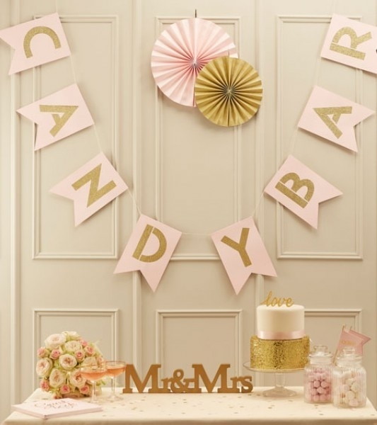 Pastel roze candy bar bunting