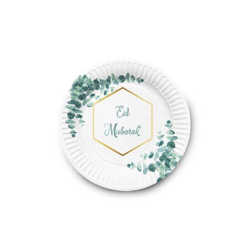 Papieren borden Eid groen wit blad (6st)