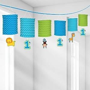 Lantern garland 1st birthday blue