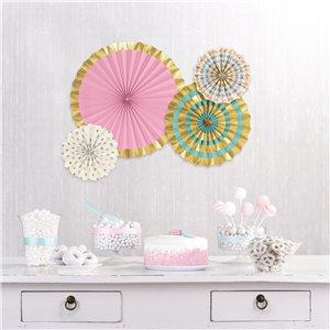 Paper fans set gold pastels (4pcs)