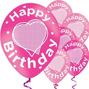 Ballonnen happy birthday pink heart (6st)
