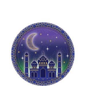Eid paper plates blue gold (8pcs)