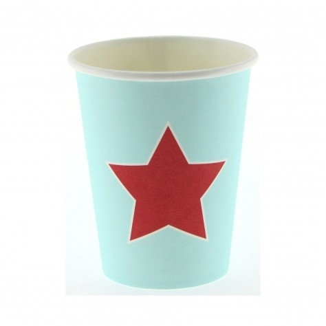 Paper cups red star (12pcs)