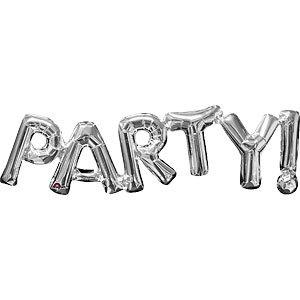 Foil phrase balloon PARTY silver