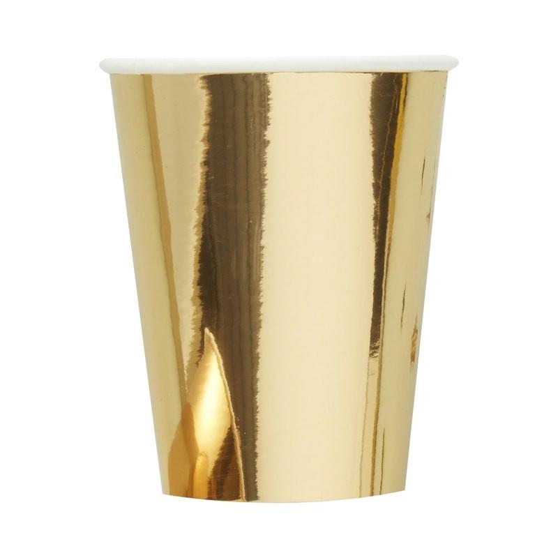 Papieren bekers glimmend goud (6st)