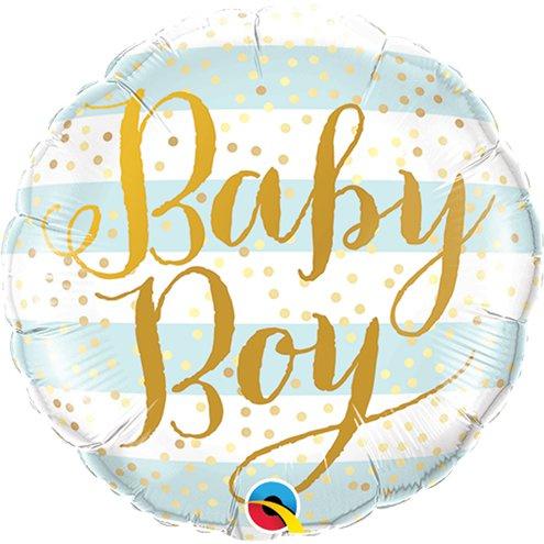 Folie ballon baby boy stripes
