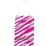 Paper party bag pink zebra