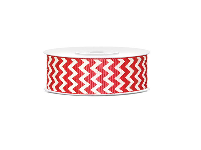 Grosgrain ribbon red chevron