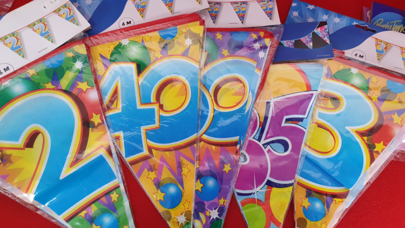 Plastic bunting flags different numbers