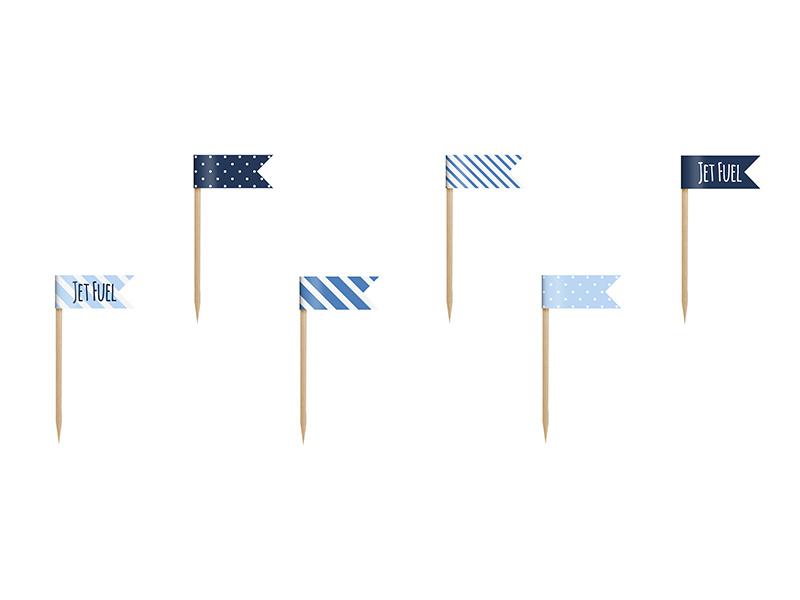 Cupcake flags airplane (6st)
