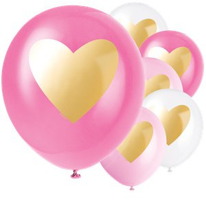 Pink and gold heart balloons (6pcs)