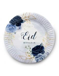 Paper plates Eid peony blue (6pcs)