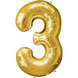 XL foil balloon gold number 3
