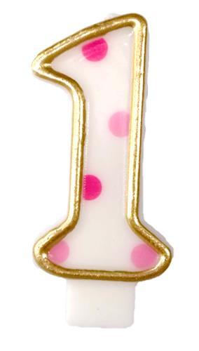Kaarsje cijfer 1 dots roze
