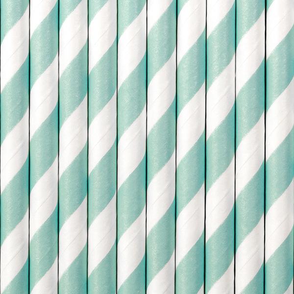 Papieren rietjes mintgroene strepen (10st)