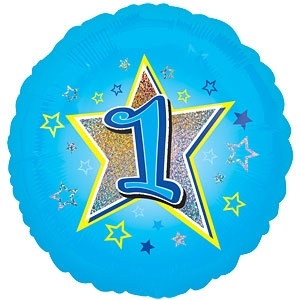 Foil balloon ONE blue stars 18""