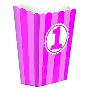 Popcorn boxes first birthday pink