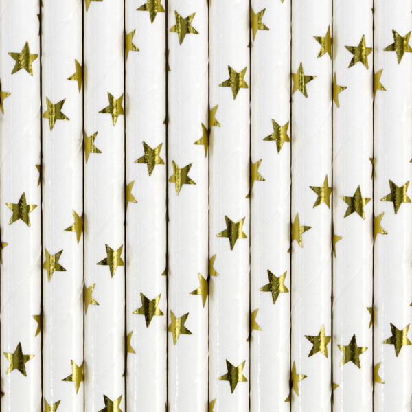 Paper straws golden stars (10pcs)