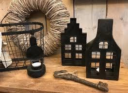 Waxinelichthouder huisje /  Grachtenpand zwart